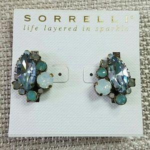 Sorrelli Clip On Earrings Palest Blue Aqua White